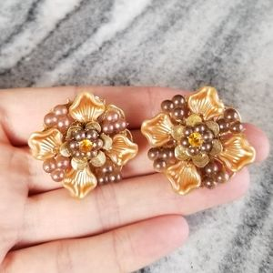 VTG Pumpkin Spice Color Clip On Earrings, Fall